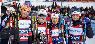 09.12.2018, Beitostolen, Norway (NOR):Emil Iversen (NOR), Martin Johnsrud Sundby (NOR), Sjur Roethe (NOR), Finn Haagen Krogh (NOR), (l-r)  - FIS world cup cross-country, 4x7.5km men, Beitostolen (NOR). www.nordicfocus.com. © Modica/NordicFocus. Every do
