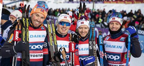 09.12.2018, Beitostolen, Norway (NOR):Emil Iversen (NOR), Martin Johnsrud Sundby (NOR), Sjur Roethe (NOR), Finn Haagen Krogh (NOR), (l-r)  - FIS world cup cross-country, 4x7.5km men, Beitostolen (NOR). www.nordicfocus.com. © Modica/NordicFocus. Every do