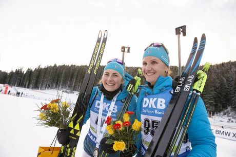 08.12.2018, Pokljuka, Slovenia (SLO):Justine Braisaz (FRA), Julia Simon (FRA), (l-r) - IBU world cup biathlon, sprint women, Pokljuka (SLO). www.nordicfocus.com. © Manzoni/NordicFocus. Every downloaded picture is fee-liable.