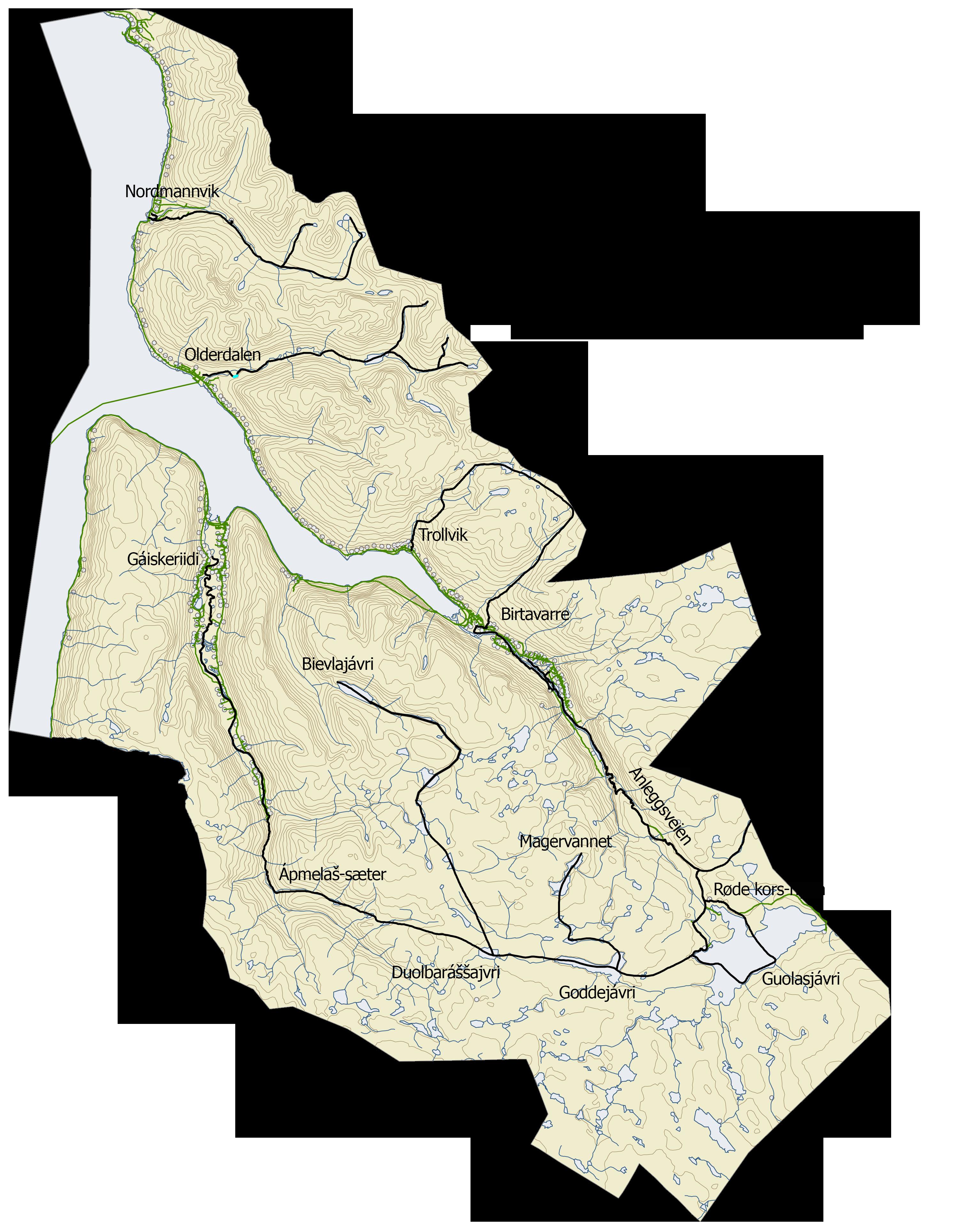 Kart over snøscooterløypene i Kåfjord