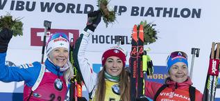 13.12.2018, Hochfilzen, Austria (AUT):Kaisa Makarainen (FIN), Dorothea Wierer (ITA), Ekaterina Yurlova-Percht (RUS), (l-r) - IBU world cup biathlon, sprint women, Hochfilzen (AUT). www.nordicfocus.com. © Manzoni/NordicFocus. Every downloaded picture i