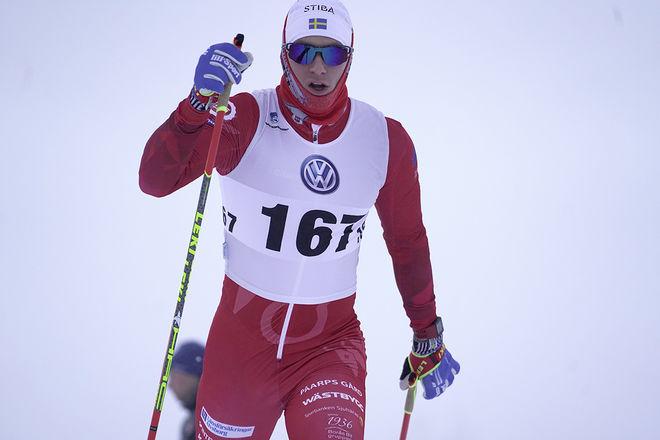 GUSTAV NORDSTRÖM, Borås SK gjorde en bra insats och var 8:e man och bästa svensk. Därmed leder han också Volkswagen Cup inför lördagens 15 km klassisk stil i Östersund. Foto/rights: TOM-WILLIAM LINDSTRÖM/KEK-stock