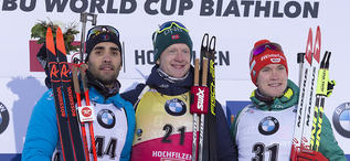 14.12.2018, Hochfilzen, Austria (AUT):Martin Fourcade (FRA), Johannes Thingnes Boe (NOR), Benedikt Doll (GER), (l-r) - IBU world cup biathlon, sprint men, Hochfilzen (AUT). www.nordicfocus.com. © Manzoni/NordicFocus. Every downloaded picture is fee-liab