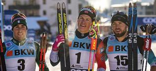 15.12.2018, Davos, Switzerland (SUI):Federico Pellegrino (ITA), Johannes Hoesflot Klaebo (NOR), Baptiste Gros (FRA), (l-r)  - FIS world cup cross-country, individual sprint, Davos (SUI). www.nordicfocus.com. © Modica/NordicFocus. Every downloaded pictur