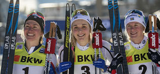 15.12.2018, Davos, Switzerland (SUI):Sophie Caldwell (USA), Stina Nilsson (SWE), Maja Dahlqvist (SWE), (l-r)  - FIS world cup cross-country, individual sprint, Davos (SUI). www.nordicfocus.com. © Modica/NordicFocus. Every downloaded picture is fee-liabl