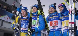 16.12.2018, Hochfilzen, Austria (AUT):Sebastian Samuelsson (SWE), Martin Ponsiluoma (SWE), Peppe Femling (SWE), Torstein Stenersen (SWE), (l-r) - IBU world cup biathlon, relay men, Hochfilzen (AUT). www.nordicfocus.com. © Manzoni/NordicFocus. Every down