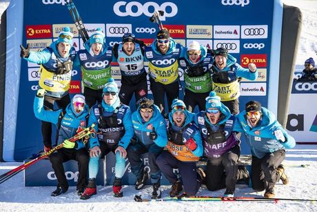 15.12.2018, Davos, Switzerland (SUI):Baptiste Gros (FRA) and the French team - FIS world cup cross-country, individual sprint, Davos (SUI). www.nordicfocus.com. © Modica/NordicFocus. Every downloaded picture is fee-liable.