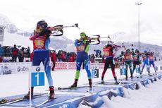 16.12.2018, Hochfilzen, Austria (AUT):Elisa Gasparin (SUI), Hanna Sola (BLR), Ingrid Landmark Tandrevold (NOR), (l-r) - IBU world cup biathlon, relay women, Hochfilzen (AUT). www.nordicfocus.com. © Manzoni/NordicFocus. Every downloaded picture is fee-li