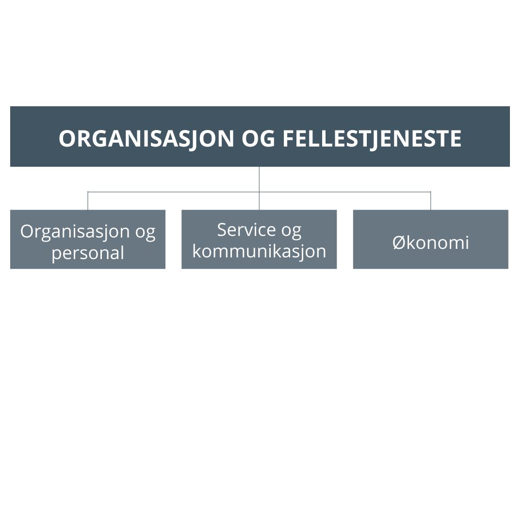 Illustrasjon av organiseringen av kommunalområdet organisasjon og fellestjenester