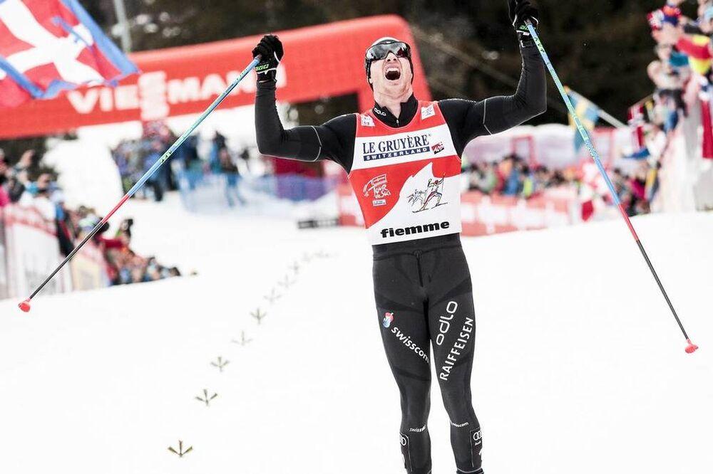 07.01.2018, Val di Fiemme, Italy (ITA):Dario Cologna (SUI) - FIS world cup cross-country, tour de ski, final climb men, Val di Fiemme (ITA). www.nordicfocus.com. © Modica/NordicFocus. Every downloaded picture is fee-liable.