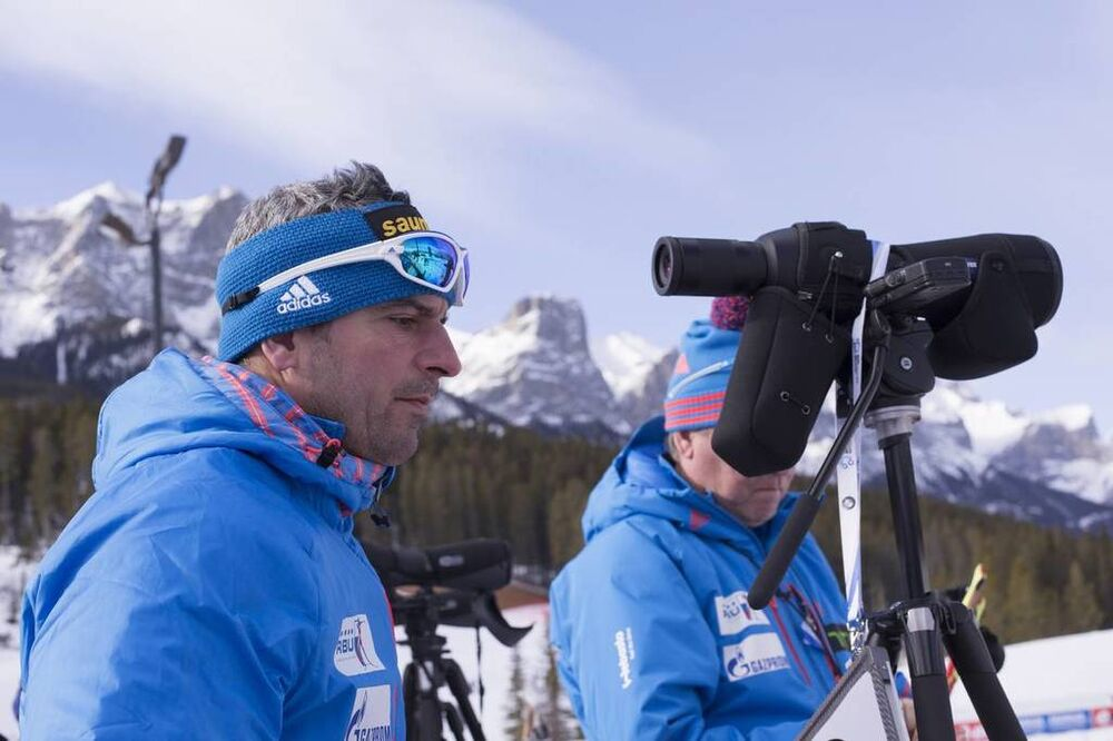 07.02.2016, Canmore, Canada (CAN):Ricco Gross (GER), coach Team Russia  -  IBU world cup biathlon, relay mixed, Canmore (CAN). www.nordicfocus.com. © Manzoni/NordicFocus. Every downloaded picture is fee-liable.