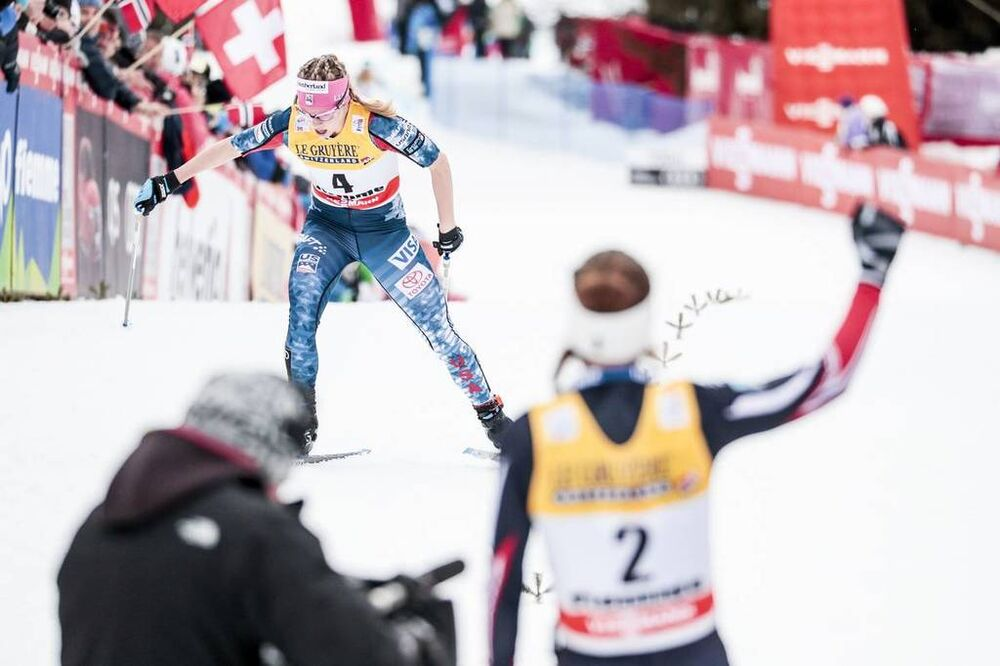 07.01.2018, Val di Fiemme, Italy (ITA):Jessica Diggins (USA) - FIS world cup cross-country, tour de ski, final climb women, Val di Fiemme (ITA). www.nordicfocus.com. © Modica/NordicFocus. Every downloaded picture is fee-liable.