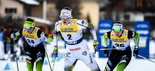 29.12.2018, Toblach, Italy (ITA):Alenka Cebasek (SLO), Linn Soemskar (SWE), Vesna Fabjan (SLO), (l-r)  - FIS world cup cross-country, tour de ski, individual sprint, Toblach (ITA). www.nordicfocus.com. © Modica/NordicFocus. Every downloaded picture is f