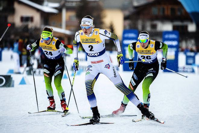 LINN SÖMSKAR nådde finalen i Tour de Ski-sprinten i Toblach innan hon tvingades bryta touren. Foto: NORDIC FOCUS