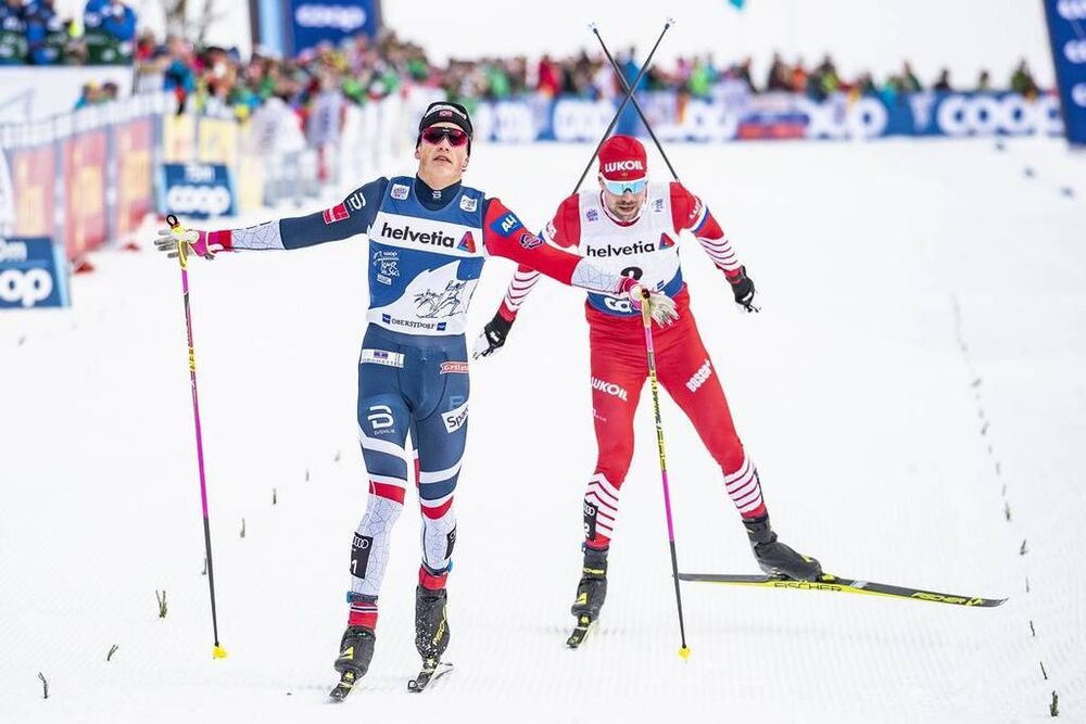 03.01.2019, Oberstdorf, Germany (GER):Sergey Ustiugov (RUS), Johannes Hoesflot Klaebo (NOR), (l-r)  - FIS world cup cross-country, tour de ski, pursuit men, Oberstdorf (GER). www.nordicfocus.com. © Modica/NordicFocus. Every downloaded picture is fee-lia