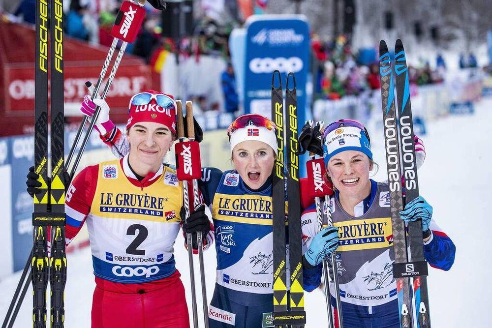 03.01.2019, Oberstdorf, Germany (GER):Natalia Nepryaeva (RUS), Ingvild Flugstad Oestberg (NOR), Jessica Diggins (USA), (l-r)  - FIS world cup cross-country, tour de ski, pursuit women, Oberstdorf (GER). www.nordicfocus.com. © Modica/NordicFocus. Every d