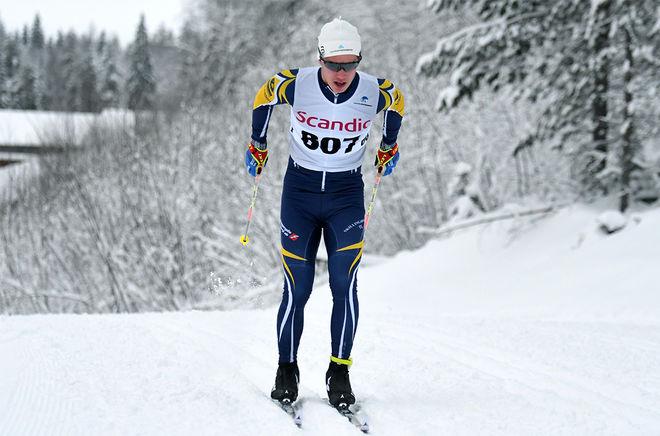 LEO JOHANSSON, Skillingaryd vann inte helt överraskande JVM-testet över 20 km klassisk masstart i Åsarna. Foto/rights: ROLF ZETTERBERG/KEK-stock
