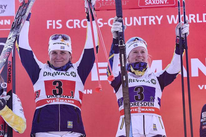 MAJA DAHLQVIST (th) och Ida Ingemarsdotter slog sensationellt Hanna Falk och Stina Nilsson och vann teamsprinten i Dresden för ett år sedan. Foto: NORDIC FOCUS