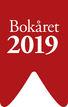 Rød logo med tekst Bokåret 2019