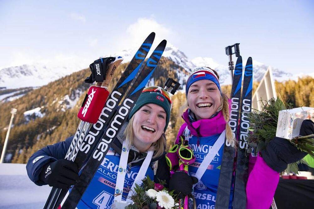 24.01.2019, Antholz, Italy (ITA):Marte Olsbu Roeiseland (NOR), Marketa Davidova (CZE), (l-r) -  IBU world cup biathlon, sprint women, Antholz (ITA). www.nordicfocus.com. © Manzoni/NordicFocus. Every downloaded picture is fee-liable.