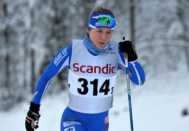 SAGA FÄLTENHAG från Högbo var ensam svensk om att nå pallen i sprinttävlingen i den nordiska juniorlandskampen i Otepää under fredagen. Foto/rights: ROLF ZETTERBERG/kekstock.com