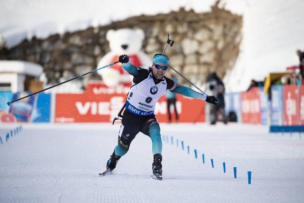 26.01.2019, Antholz, Italy (ITA):Simon Desthieux (FRA) -  IBU world cup biathlon, pursuit men, Antholz (ITA). www.nordicfocus.com. © Manzoni/NordicFocus. Every downloaded picture is fee-liable.
