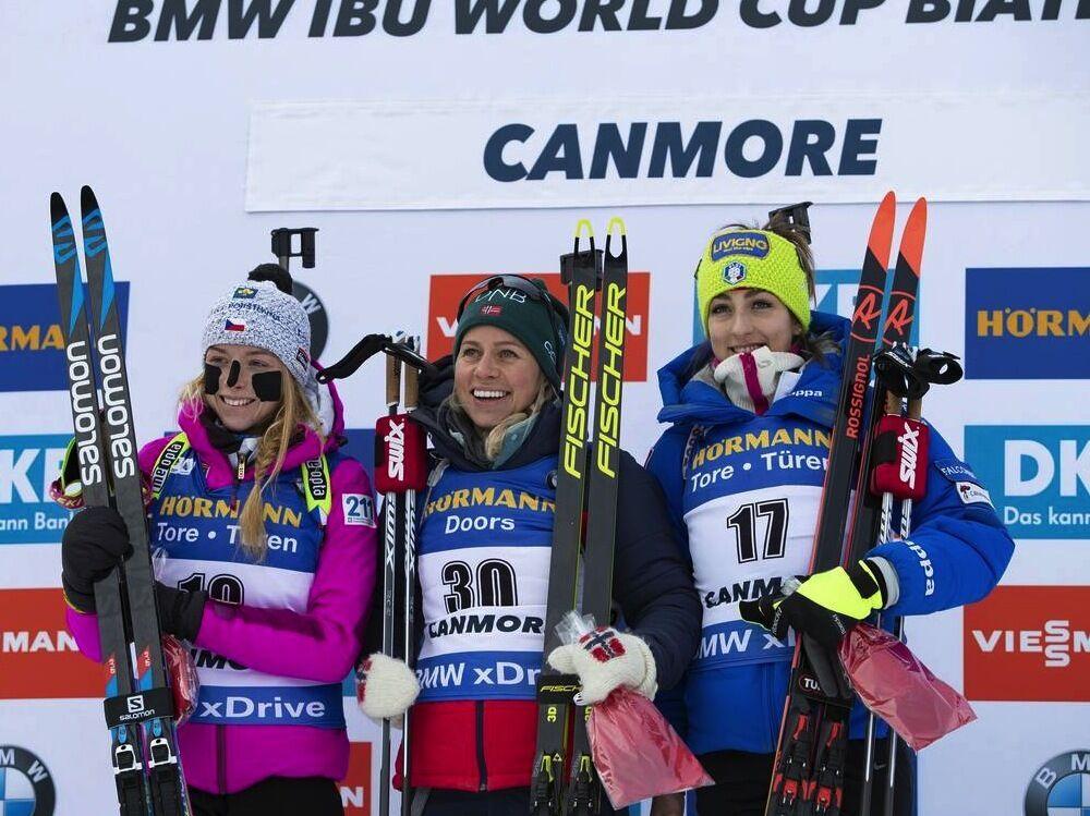 07.02.2019, Canmore, Canada (CAN):Marketa Davidova (CZE), Tiril Eckhoff (NOR), Lisa Vittozzi (ITA), (l-r) -  IBU world cup biathlon, short individual women, Canmore (CAN). www.nordicfocus.com. © Manzoni/NordicFocus. Every downloaded picture is fee-liabl