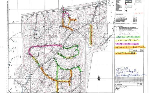 Kart med fremdriftsplan prosjekt Togrenda per 1.2.2019