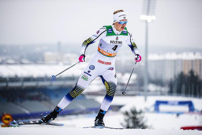 MAJA DAHLQVIST var på pallen igen i världscupen, nu seglar hon upp som ett rejält medaljhopp i VM-sprinten i Seefeld. Foto/rights: NORDIC FOCUS