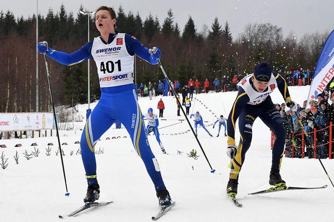 HÄR AVGÖRS USM-finalen i H16 med Mattias Andersson, Domnarvet som segrare 0,18 sekunder före Ludvig Berg, Granbergsdal. Foto/rights: ROLF ZETTERBERG/kekstock.com