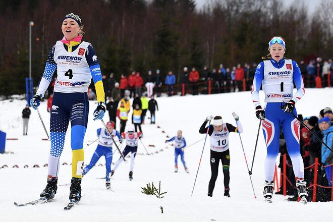 ELIN NÄSLUND, Vårby (tv) tar sitt andra USM-guld på två dagar och Erica Lavén, Täby tar sitt andra silver på två dagar. Foto/rights: ROLF ZETTERBERG/kekstock.com