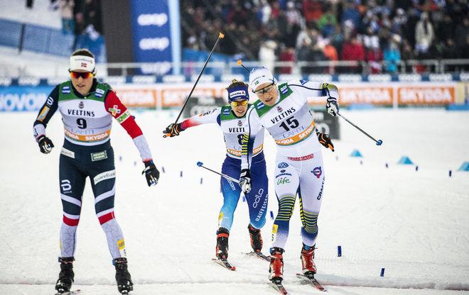 HANNA FALK (th) nådde inte finalen i Lahtis idag, men hon fick en VM-plats i sprint i Seefeld. Det var kanske roligare… Foto/rights: NORDIC FOCUS