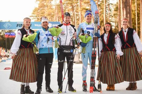 17.02.2019, Tartu, Estonia (EST):NIKO Koskela (FIN), FABIO Lechner (SUI), DAMIEN Tarantola (FRA) - FIS World Loppet Tartu Marathon, Tartu (EST). www.nordicfocus.com. © Tumashov/NordicFocus. Every downloaded picture is fee-liable.