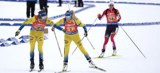 17.02.2019, Soldier Hollow, United States of America (USA):Peppe Femling (SWE), Ingela Andersson (SWE), (l-r) -  IBU world cup biathlon, relay mixed, Soldier Hollow (USA). www.nordicfocus.com. © Manzoni/NordicFocus. Every downloaded picture is fee-liabl