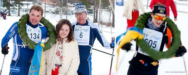 HERRSEGRAREN Axel Bergström (tv), kranskullan Nelly Söderström och tvåan Peo Svahn i Skinnarloppet. Till höger damsegrarinnan Karin Wallén från Falun-Borlänge SK. Foto: ARRANGÖREN