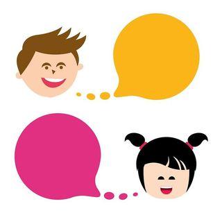 Illustrasjon av en gutt og en jente med hver sin snakkeboble