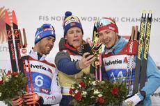 21.02.2019, Seefeld, Austria (AUT):Federico Pellegrino (ITA), Johannes Hoesflot Klaebo (NOR), Gleb Retivykh (RUS), (l-r) - FIS nordic world ski championships, cross-country, individual sprint, Seefeld (AUT). www.nordicfocus.com. © THIBAUT/NordicFocus. E
