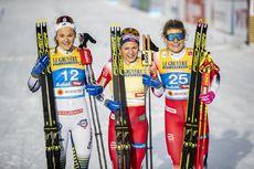 21.02.2019, Seefeld, Austria (AUT):Stina Nilsson (SWE), Maiken Caspersen Falla (NOR), Mari Eide (NOR), (l-r)  - FIS nordic world ski championships, cross-country, individual sprint, Seefeld (AUT). www.nordicfocus.com. © Modica/NordicFocus. Every downloa