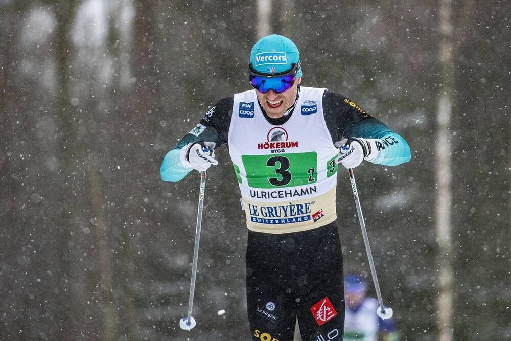 27.01.2019, Ulricehamn, Sweden (SWE):Maurice Manificat (FRA) - FIS world cup cross-country, 4x10km men, Ulricehamn (SWE). www.nordicfocus.com. © Modica/NordicFocus. Every downloaded picture is fee-liable.