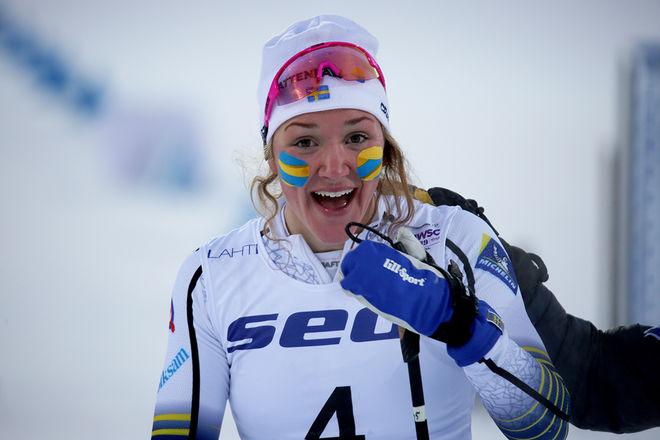 MOA LUNDGREN med U23-VM-guldet från Lahtis förra säsongen. Foto/rights: KJELL-ERIK KRISTIANSEN/kekstock.com