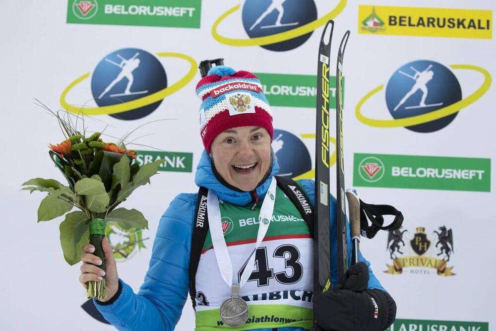 23.02.2019, Minks-Raubichi, Belarus (BLR):Ekaterina Yurlova-Percht (RUS) - IBU Open European championships biathlon, medals, Minsk-Raubichi (BLR). www.nordicfocus.com. © Manzoni/NordicFocus. Every downloaded picture is fee-liable.