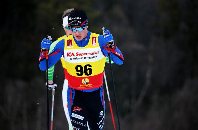 ELIS TINGELÖF såg till att Sollefteå Skidor fick en hemmaseger i JSM-sprinten då han vann H17-18. Foto/rights: KJELL-ERIK KRISTIANSEN/kekstock.com