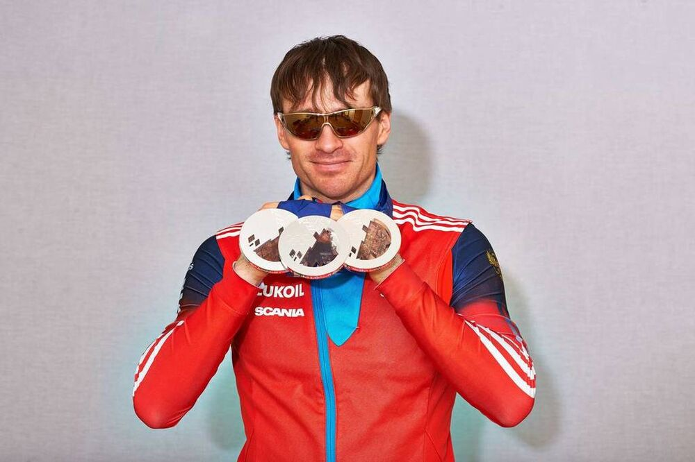14.03.2014, Sochi, Russia (RUS): Maxim Vylegzhanin (RUS)- XXII. Olympic Winter Games Sochi 2014, cross-country, medals, Sochi (RUS). www.nordicfocus.com. © NordicFocus. Every downloaded picture is fee-liable.