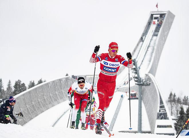 ALEXANDER BOLSHUNOV blev den yngsta segrare i Holmenkollens femmil då Ryssland tog dom fyra första platserna. Han tog också över ledningen i världscupen totalt. Foto/rights: NORDIC FOCUS