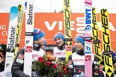 09.03.2019, Oslo, Norway (NOR):Johann Andre Forfang (NOR), Robin Pedersen (NOR), Marius Lindvik (NOR), Robert Johansson (NOR), (l-r), (l-r)  - FIS world cup ski jumping, team HS134, Oslo (NOR). www.nordicfocus.com. © Modica/NordicFocus. Every downloaded