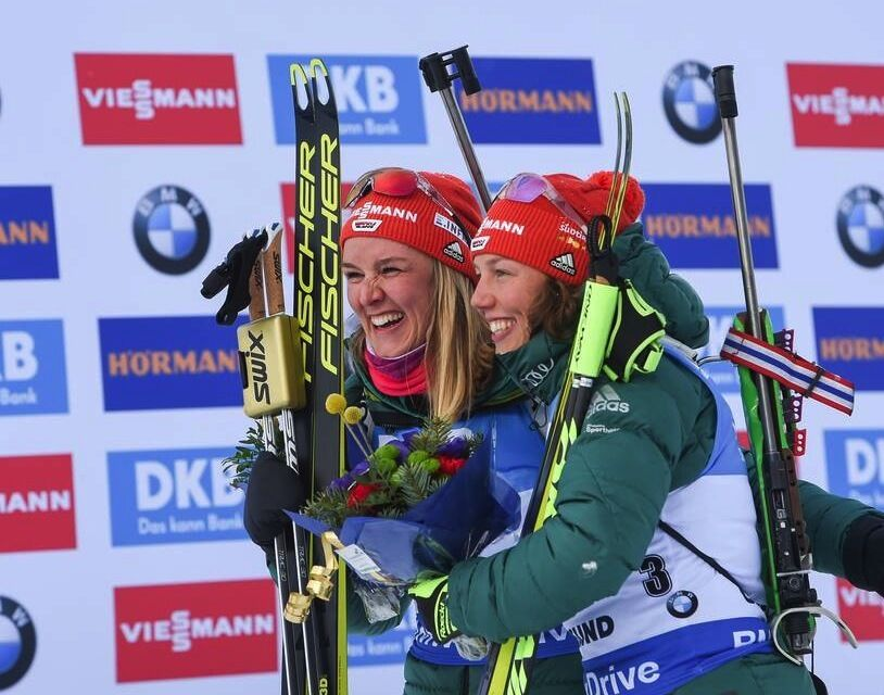 10.03.2019, Oestersund, Sweden (SWE):Denise Herrmann (GER), Laura Dahlmeier (GER) - IBU world championships biathlon, pursuit women, Oestersund (SWE). www.nordicfocus.com. © Tumashov/NordicFocus. Every downloaded picture is fee-liable.