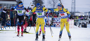 14.03.2019, Oestersund, Sweden (SWE):Sebastian Samuelsson (SWE), Hanna Oeberg (SWE), (l-r) - IBU world championships biathlon, single mixed relay, Oestersund (SWE). www.nordicfocus.com. © Manzoni/NordicFocus. Every downloaded picture is fee-liable.