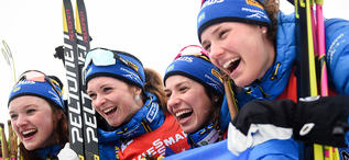 16.03.2019, Oestersund, Sweden (SWE):Linn Persson (SWE), Mona Brorsson (SWE), Anna Magnusson (SWE), Hanna Oeberg (SWE) - IBU world championships biathlon, relay women, Oestersund (SWE). www.nordicfocus.com. © Tumashov/NordicFocus. Every downloaded pictu