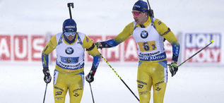 16.03.2019, Oestersund, Sweden (SWE):Sebastian Samuelsson (SWE), Martin Ponsiluoma (SWE), (l-r) - IBU world championships biathlon, relay men, Oestersund (SWE). www.nordicfocus.com. © Manzoni/NordicFocus. Every downloaded picture is fee-liable.