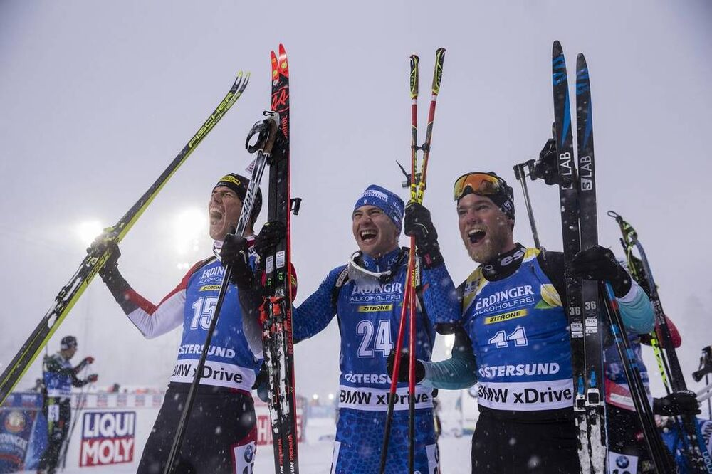17.03.2019, Oestersund, Sweden (SWE):Julian Eberhard (AUT), Dominik Windisch (ITA), Antonin Guigonnat (FRA), (l-r) - IBU world championships biathlon, mass men, Oestersund (SWE). www.nordicfocus.com. © Manzoni/NordicFocus. Every downloaded picture is fe